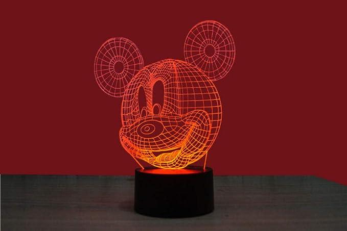 Luz nocturna 3D Mickey Mouse Base negra LED Lámpara de Mesa Luces ...