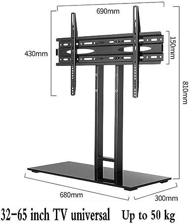 Tabla Universal del Soporte de TV, para Altura del Monitor Ajustable Soporte de Escritorio Base de 32-65 Pulgadas LCD LED TV con Vidrio Templado Base VESA 600x400mm: Amazon.es: Hogar