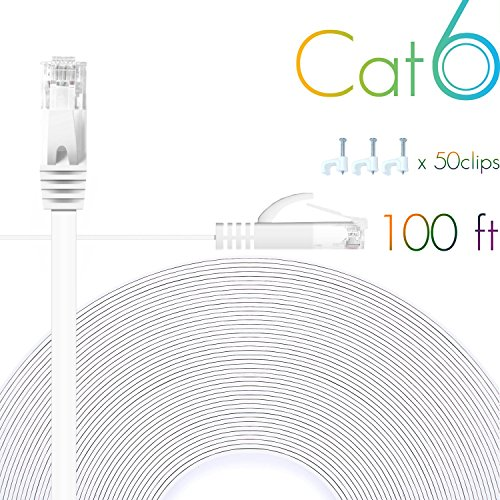 Cat 6 Ethernet Cable 100 FT Flat Internet Network Cables with Cable Clips Cat6 Ethernet Patch Cable with Snagless Rj45 Connectors White Computer LAN Cable(100FT)