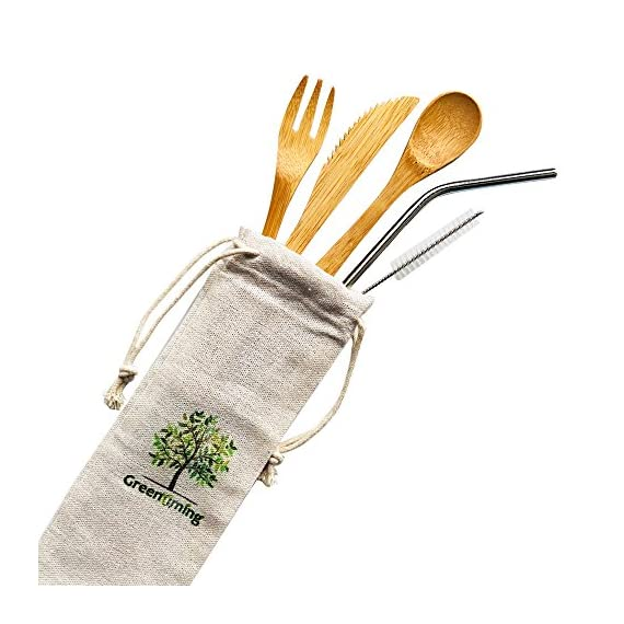 Natural Bamboo To Go Cutlery Set- Washable Reusable Utensils, 7.5 inch bamboo spoon fork knife with Metal Straw, Cleaning Brush Carry Pouch, Eco-Friendly Travel Flatware Kit 3 Natural bamboo travel cutlery set - 7.5 inch reusable wooden bamboo utensils, fork, spoon, knife & 8.5 inch bent stainless steel straw with free straw cleaner in slim travel pouch, Good choice for outdoor and home activeties. like camping, party, school and work. Eco-Friendly Flatware Set - Made by 100% natural bamboo material, Surface treatment with food grade oil, BPA free and FDA aprroved, absolutely no harm to the health. They are diswasher safe, easy to clean. Pls wash the kit before use them and stored in a dry place No more Plastic - Bamboo is a fast-growing, all-natural grass that is just as durable as wood. They are good choice for replace the plastic flatware. As we all know, there is so many plastic goods used in our daily life, make so many trouble to the ocean and mainland environment. Save Our Planet, Have a Zero Waste Lifestyle