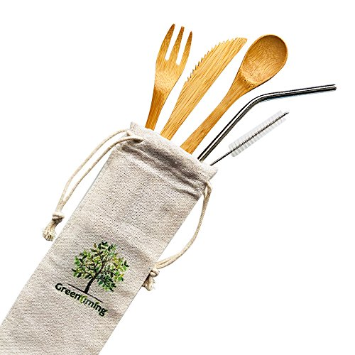 Reusable Bamboo Utensils Cutlery for Kids - 6 inch Travel Set, Bamboo Honey Spoon Fork Knife, 8.5 inch Stainless Steel Metal Straw with cleaning brush,To go Camping Lightweight Children Cutlery kit