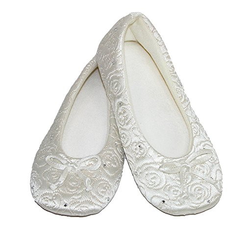 Isotoner Women's Rose Quilted Satin Ballerina with Rhinestones Ivory Small 5-6 Ivory Satin Wedding Shoes