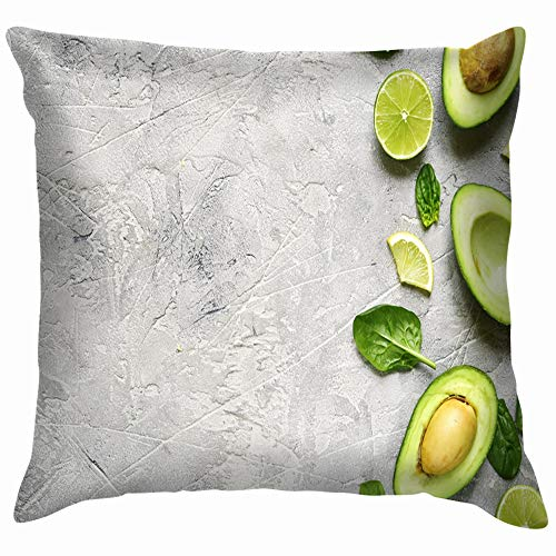 Avocado Halves Lime Slices Baby Spinach Food and Drink Soft Cotton Linen Cushion Cover Pillowcases Throw Pillow Decor Pillow Case Home Decor 22X22 Inch -