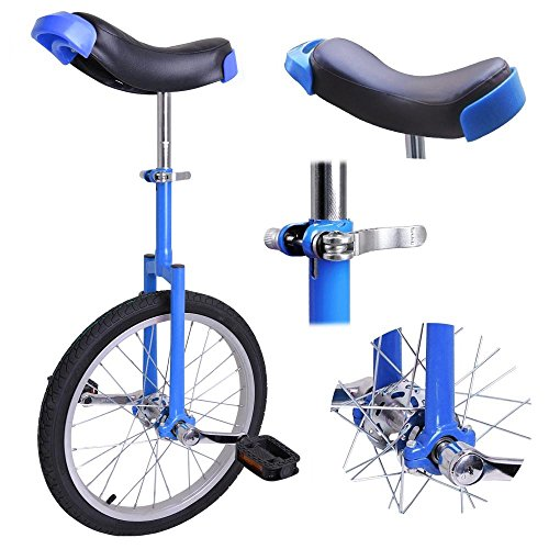zipperl Unicycle 18 Inch, Wheel Unicycle 1.75 Skid Proof Tire with Aluminum Rim for Kids (Blue)