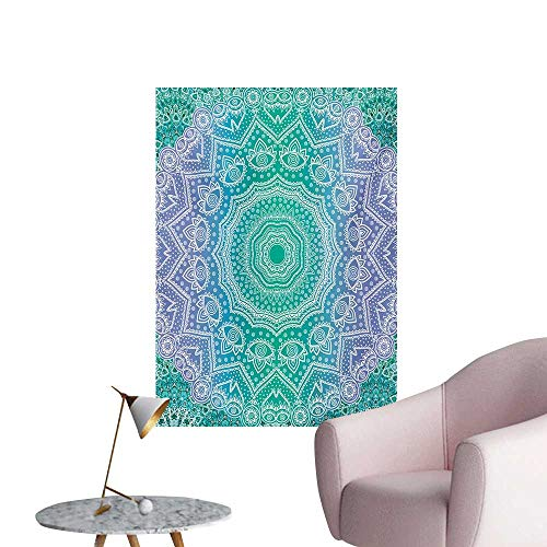 Anzhutwelve Ethnic Photographic Wallpaper Traditional Mystical Oriental Mandala Yantra Sacred Geometry PatternPurple Green W32 xL36 Wall Poster