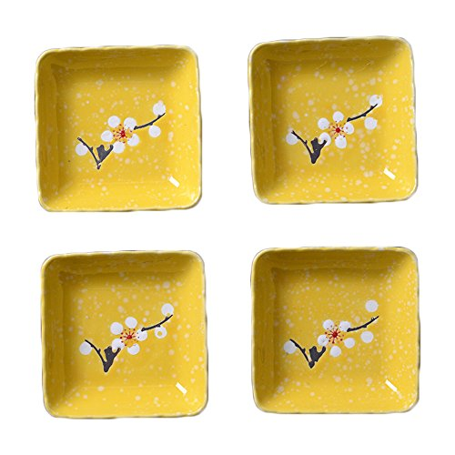 (Colias Wing Plum Blossom Pattern Square Design Multipurpose Porcelain Side Dish Bowl Seasoning Dishes Soy Dipping Sauce Dishes-Set of 4 (Blue/Green/Pink/Yellow/Colorful))