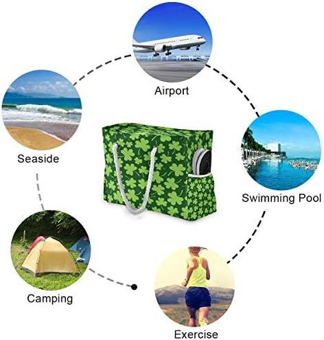 ビーチバッグ ビーチトートバッグ オランダ紫雲英 プールバッグ ショッピング 軽量 旅行 アウトドア 大容量 トイレタリー 手提げバッグ ピクニック 水泳バッグ 海水浴 温泉 ポケット付き リゾート