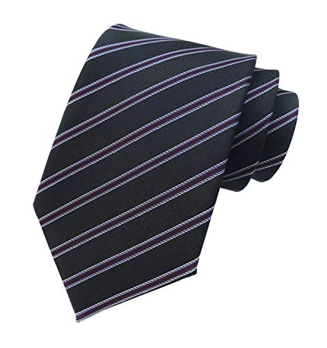 - Mesn Narrow Stripe Black Purple Silk Ties Regular Soft Business Boys Son Necktie