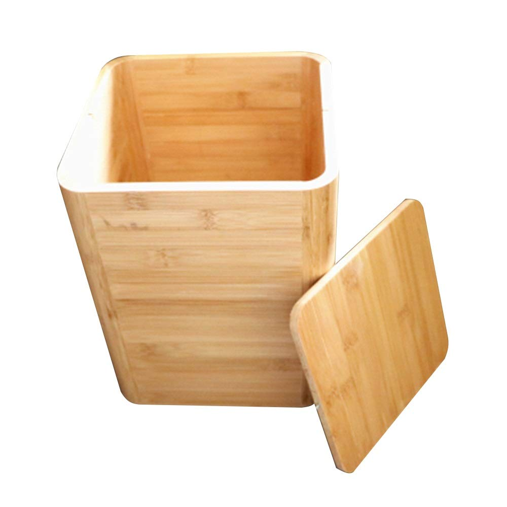 Trash can Small Wood Wastebasket Small Square Trash Can Container Bin Bamboo Garbage Cans Indoor Garbage for Bathroom Bedroom Dorm College Office 8.18.110.2 Inch for Bathroom Kitchen Office Home Bed by Yuybei-Home