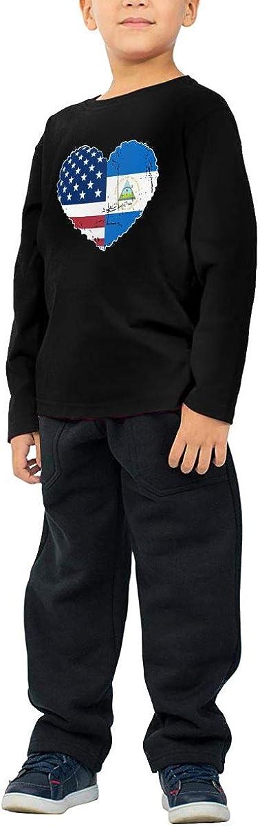 CERTONGCXTS Little Boys Nicaragua USA Flag Heart ComfortSoft Long Sleeve Shirt