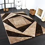 Paco Home Luxury Designer Rug - Contoured - Geometric Checked - Mottled Brown Beige Black, Size:120x170 cm