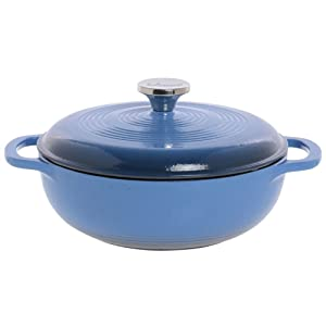 "Lodge 3 qt Caribbean Blue Enameled Cast Iron Dutch Oven - 12 3/4""L x 11 3/4""W x 2 1/8""H"