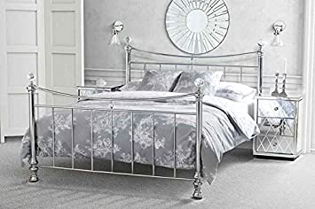 MY Furniture   5ft King Size Nickel Iron/Metal Bed Chrome Plated Crystal  Finials