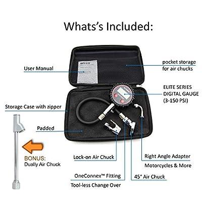 DIYCO D4 Elite Series Digital Tire Pressure Gauge | Professional-Grade | (5-PCS) Set with Storage Case: Automotive