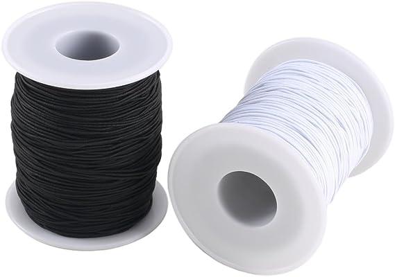 FOGAWA 2 Rollo 0.8 mm Hilo Cuerda Elástico Blanco y Negro de ...