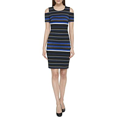 9c276d68ddb Image Unavailable. Image not available for. Color: Tommy Hilfiger $129  Womens New 1057 Blue Striped Cold Shoulder ...