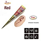 Temporary India Tattoo Kit, Pack of 3 Red Paste Cone Indian Body Art Painting Drawing