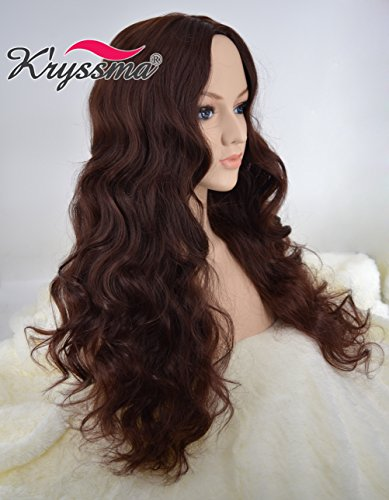 [K'ryssma Dark Brown Wavy Wig - Glamorous Women Long Hair Wig Middle Part Mixed Color Cheap Glueless Synthetic Wigs For Women 24 inches] (Cheap Color Wigs)