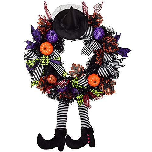 24 Inch Witch Halloween Wreath with Hat Legs Pumpkin Door Wreath, Artificial Maple, Pumpkin Wreath for Halloween