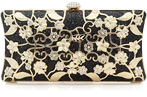 - Dexmay Formal Flower Evening Bag for Wedding Party Luxury Glitter and Rhinestone Crystal Clutch Purse Black