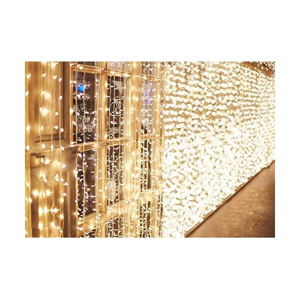 IDESION 600 LED 6M x 3M Tenda Luminosa Natale Esterno/Interno, Tenda Luci Natale IP65 con 8 Modalità di Illuminazione Natale Decorazioni Casa, Camera da Letto, Giardino- Luci LED Natale Bianco Caldo 1 spesavip