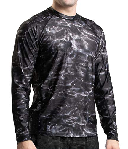 National Team Long Sleeve Tee - Aqua Design Men Loose Fit Long Sleeve Surf Swim Sun Protection Rash Guard Shirt,Black Water,X-Large