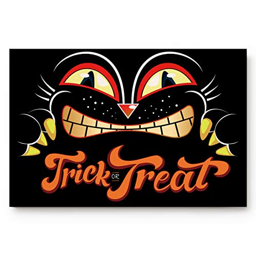 Fafahome Halloween Doormat Scary Black Cat Trick or Treat Welcome Floor Mat for Living Dining Dorm Room Bedroom Home, 18 x 30 Inch]()