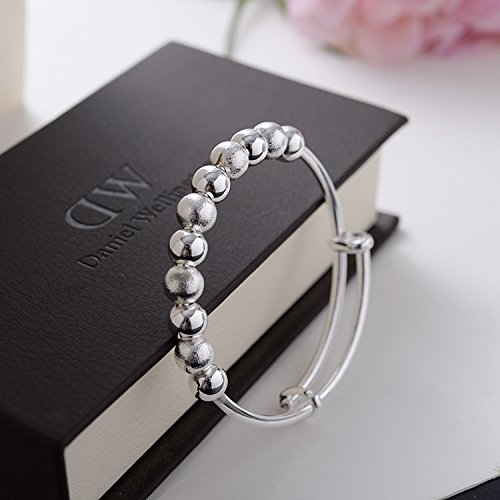 Xiaodou Sterling Silver Beads Bangle Transfer Lucky Beads Bracelet Cuff (Nine Lucky Beads)
