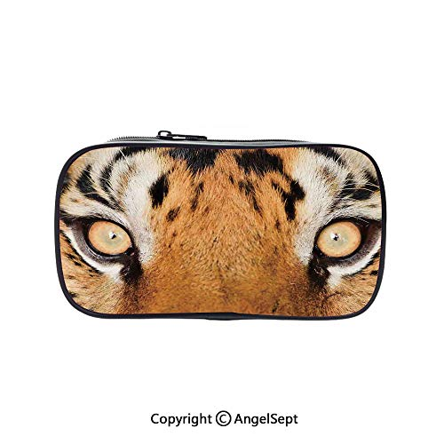 Two Big Pockets for Executive Fountain Pen,Close up Tiger Eyes Hunter Look Feline Camouflage Coat Animal with Shady Colors Photo Orange Black 5.1inches,Multi-Functional 72 Slots Colored Pencil Case (Hunter Glass Fountain)