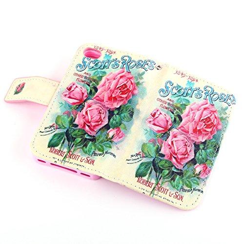 ZeWoo Folio Ledertasche - F011 / Scott's Rose - für Apple iPhone 4 4G 4S PU Leder Tasche Brieftasche Case Cover