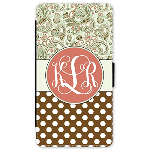 Simply Customized Phone Wallet Case, Compatible iPhone 7 Plus (5.5 inch) - Green Paisley Polka Dots Monogram Monogrammed ()