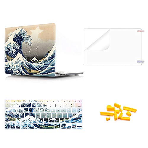 MMDW 4 in 1 Plastic PC Hard Case Shell &Keyboard Cover&Screen Protector&Dustproof Plug Compatible Old MacBook Pro 13 Inch(A1278,with CD-ROM) Release Early 2012/2011/2010/2009/2008,Sea Wave ()