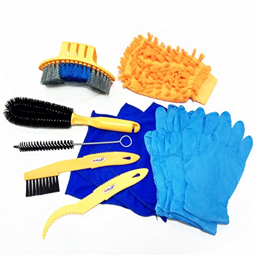 SABLUE Bicycle Cleaning Tool kits Bike Cleaner set Tire Wheel Brush Chain Wash Brake Disc Cleaner Gloves Bike ()