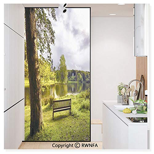 Decorative Privacy Window Film A Bench Overlooking The Lake at Stourhead Countryside Cloudy Day Landscape No-Glue Self Static Cling for Home Bedroom Bathroom Kitchen Office,Green Gray