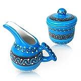 #2: Encantada - Azure Blue Ceramic Sugar Bowl And Creamer Set (Jarra de Leche y Azucarero)