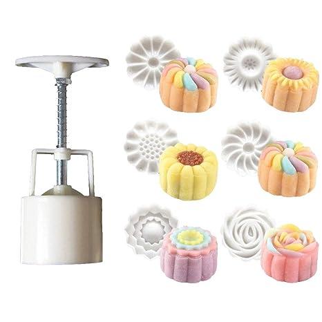 AsentechUK® 50g Galletas sellos luna molde para tartas con 6 sellos, Cookie prensa Mid