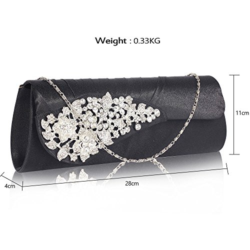 Design Handbag Brooch Black Womens Designer Purse Ladies With Diamante New Clutch Bag Bag Evening 1 wIZ0qF7x