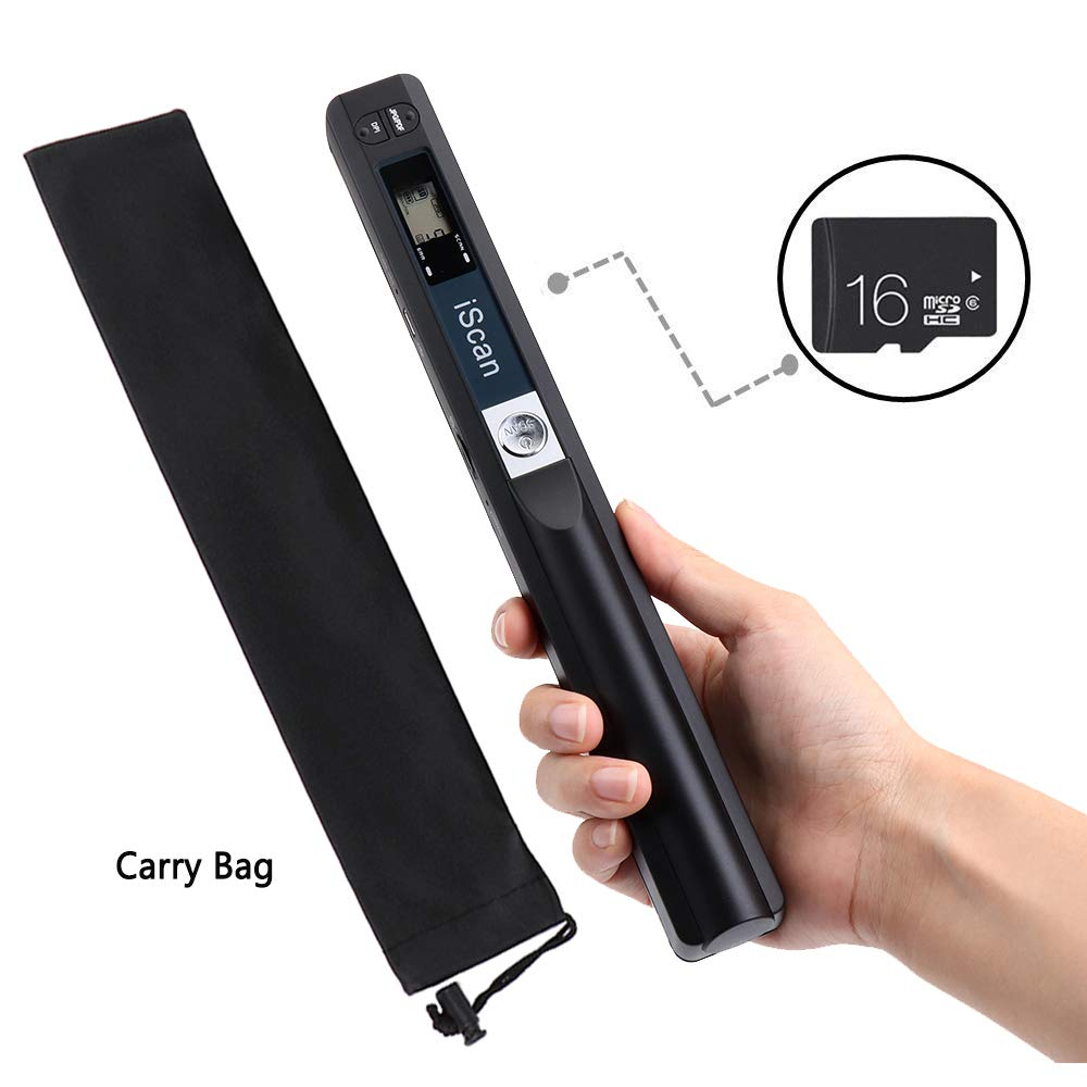 MUNBYN Portable Handheld Document Scanner with 16GB MicroSD Card Mini Pen Scanner Document & Image A4 Size 900DPI JPEG/PDF Format with Carry Bag Scan Width 8.27''