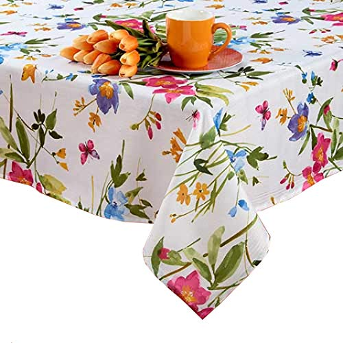 Benson Mills Spring Tablecloth with Butterflies, Wild Flowers and Blossoms Easy-Care Polyester (60 x 104 Rectangle)]()