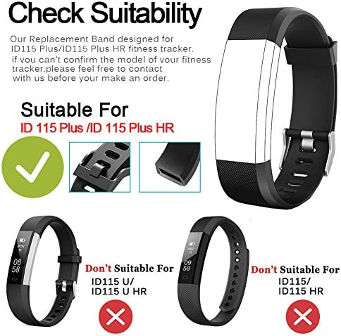 REDGO ID115Plus HR Replacement Band, Fitness Tracker Straps for ID115 Plus HR Bracelet, ID115HR Plus Pedometer, Not for ID115 or ID115HR, Black, Purple 3