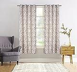 JarlHome Jacquard Leaf Blackout Grommet 52″ x 84″ Curtains for Bedroom 2 Panels, Beige JR740202 For Sale