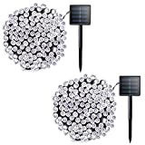 Tools & Hardware : Lalapao 2 Pack Solar String Lights 72ft 22m 200 LED 8 Modes Solar Powered Xmas Outdoor Lights Waterproof Starry Christmas Fairy Lights for Indoor Gardens Homes Wedding Holiday Party (White)