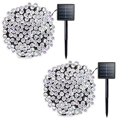 Lalapao 2 Pack Solar String Lights 72ft 22m 200 LED 8 Modes Solar Powered Xmas Outdoor Lights Waterproof Starry Christmas Fairy Lights for Indoor Gardens Homes Wedding Holiday Party (White) from Lalapao