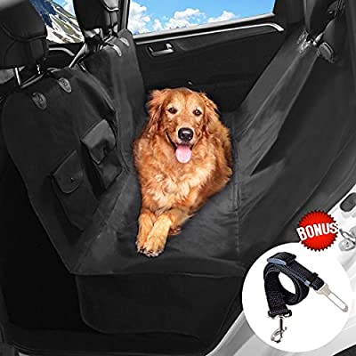 Pet Car Seat Cover for Dogs Upsimples Back Seat Bench Cover with Side Flaps, No Stitch Hole, 100% Waterproof,Non-Slip and Durable One Piece Design Dog Car Hammock,Better Than Quilted Version