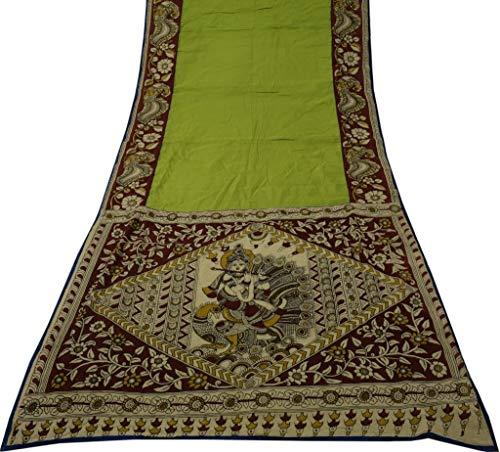 Vintage Indian Sari 100% Pure Cotton Kalamkari Craft Saree Fabric Green