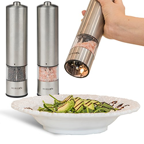 Horizon Kitchen Stainless Steel Electric Salt and Pepper Grinder Set - Pack of 2 Battery Operated Mills - Automatic Grinders with LED Light - Electronic Shakers with Adjustable Coarseness and caps - Electronic Pepper Mill