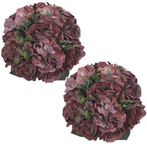 HEBE 2 Pack Vintage Artificial Rose Flower Silk Rose Hydrangea Flowers Arrangement Bouquet Home Wedding Bridal Table Decoration (Bouquet Rose Hydrangea)
