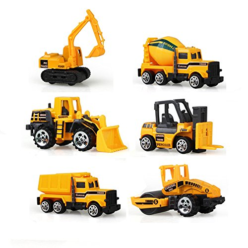 Mitemix Construction Vehicle Trucks, 6pcs Assorted Car Toys Play Set Mini Die Cast Push Engineering Vehicles Including Forklift, Excavator, Bulldozer, Early Education for Toddlers Kids Boys Girls