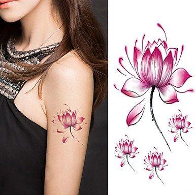 Amazoncom Halloween Women Lotus Flower Tattoo Temporary Tattoo