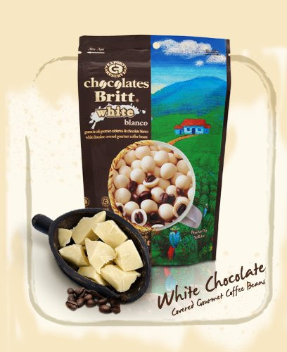 Cafe Britt White Chocolate Covered Gourmet Coffee Beans (White Chocolate For Coffee)